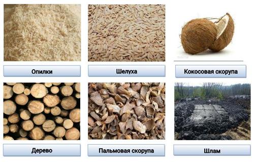 Серьё карбонизации биомассы